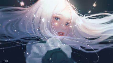 White Hair Long Hair Blue Eyes Stars Anime Anime