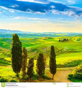 tuscany rural sunset landscape countryside farm white road an stock photo image 47973653