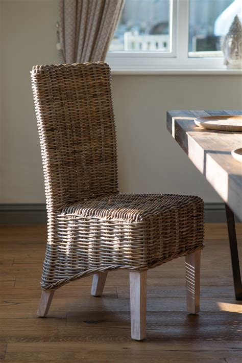 rattanwicker dining room chair kubu grey weave solid