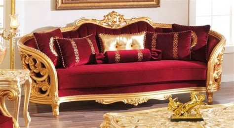 monique victorian ruby red luxury sofa loveseat set gold