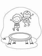 Trampoline Coloring Trampolin Ausmalbilder Malvorlagen Zum Kinder sketch template