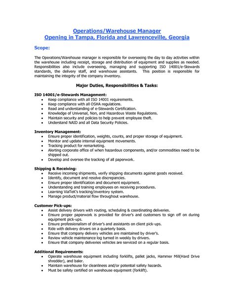 duties of a warehouse worker for resume student resume