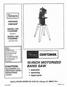 Craftsman 113244400 User Manual 10 Inch Band Saw Manuals