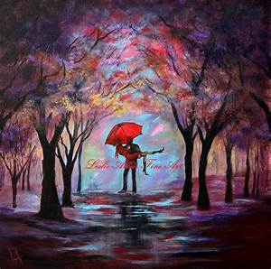 Couple Original Abstract Painting COUPLE LOVE UMBRELLA ...