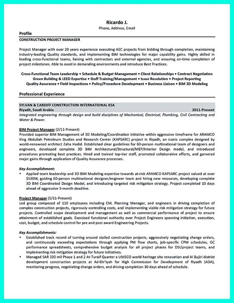 Exle Resume For Project Manager Construction by Cool Construction Project Manager Resume To Get Applied