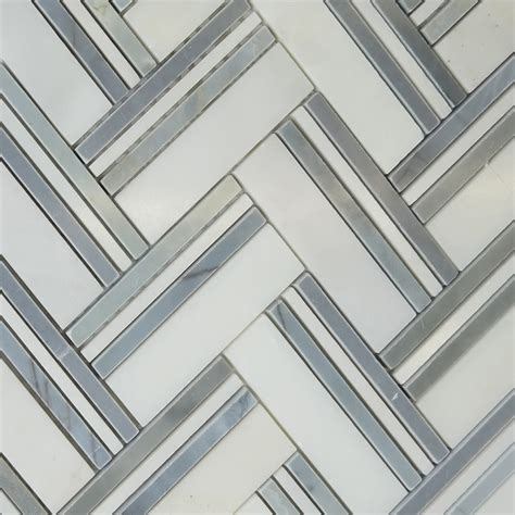 herringbone mosaic grey tile asian carrara marble polished