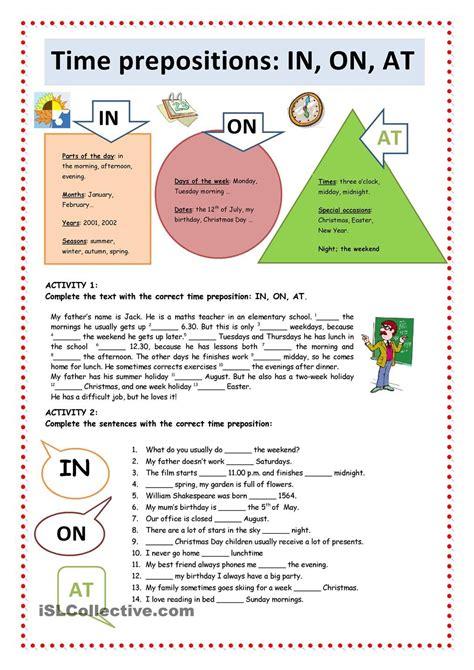 prepositions  time worksheet printable learning