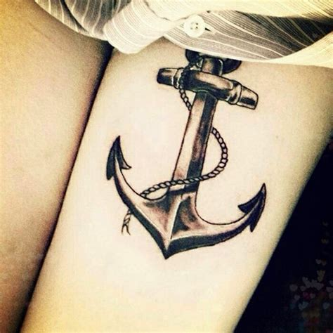 Beautiful Anchor With Rope Tattoo Leg