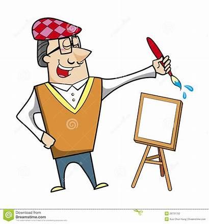 Cartoon Canvas Artist Easel Paintbrush Vector Illustration