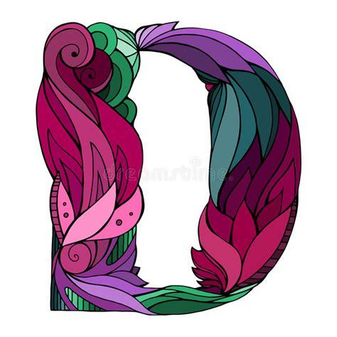 letter d floral design stock vector 169 kudryashka 3233753 coloring freehand drawing capital letter d stock vector 40767