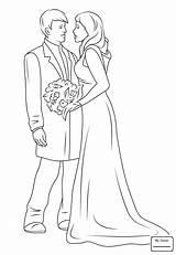 Groom Bride Coloring Printable sketch template