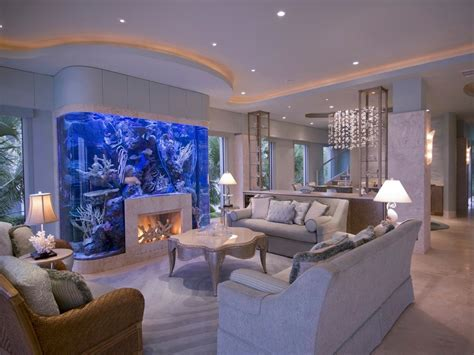 Built In Fish Tanks Living Room Tropical With Built In