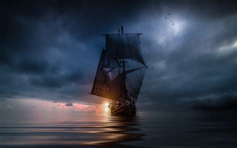 landscape nature sea clouds sunset sailing ship