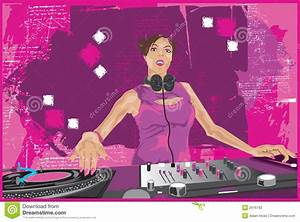 DJ Girl Mixing It Up 2 stock vector. Image of artwork ...