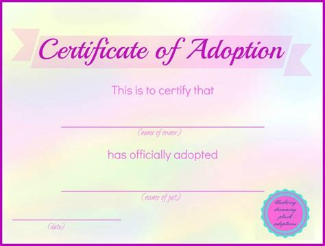 Blank Adoption Certificate Template by Printable Stuffed Animal Adoption Certificates Blueberry