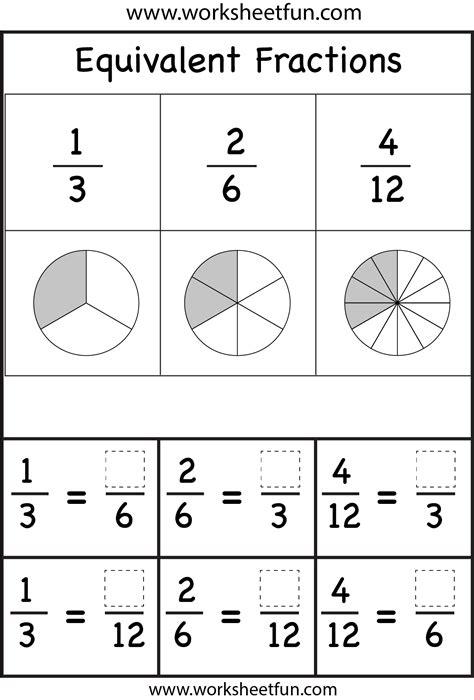 equivalent fractions worksheets printable worksheets