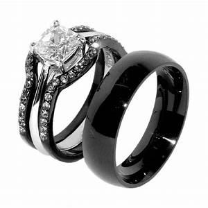 His Hers 4 PCS Black IP Stainless Steel Wedding Ring Set