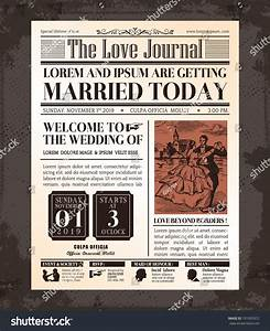 vintage newspaper journal wedding invitation vector stock With wedding announcement templates newspaper