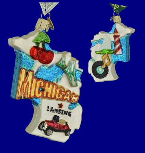 state of michigan glass ornament by old world christmas