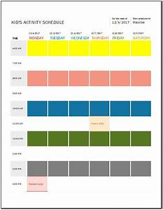 kid39s daily weekly monthly activity schedule templates With activity timetable template