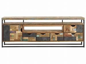 Tv Regal Holz : tv regal im industriedesign lowboard aus metall und holz mit f nf schubladen l nge 200 cm ~ Indierocktalk.com Haus und Dekorationen