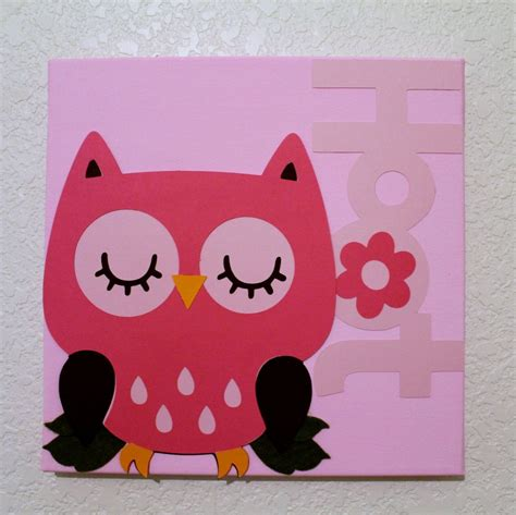 wall decor pink owl baby nursery children room decor