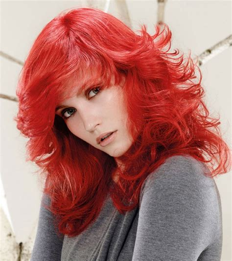 Long Feathered Style For Bright Red Hair