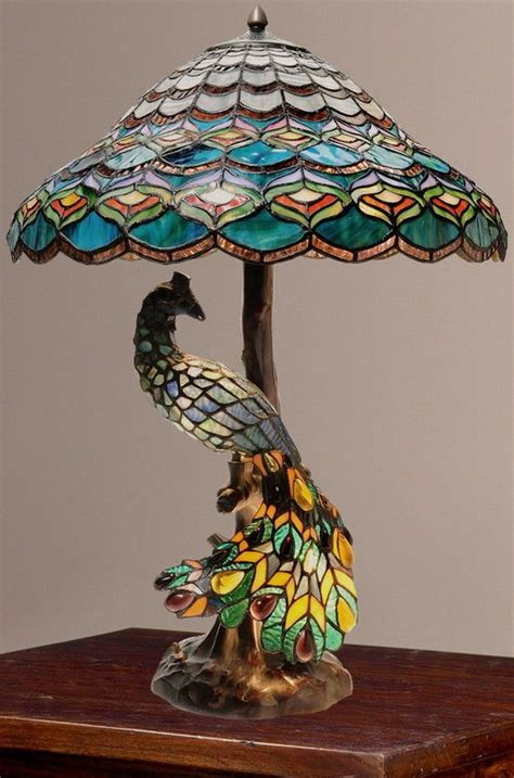 tiffany style peacock s hallow double lit stained glass