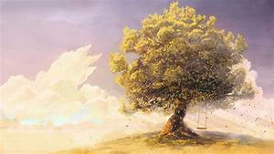 Swings-artwork-drawings-tree sky cloud beautiful anime ...