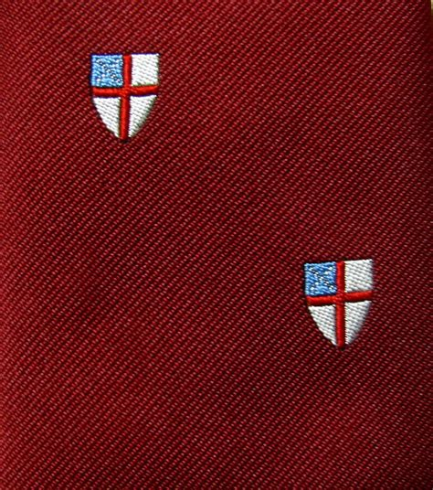 Christian Shield Necktie Mens Tie Religious Cross Crimson