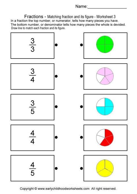 imatching fractions with pictures matematicas