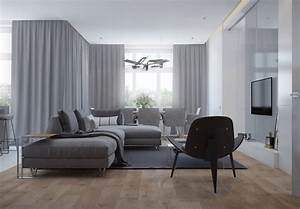 meubles et decor couleur gris dans 5 appartements modernes With tapis champ de fleurs avec canapé gris et blanc