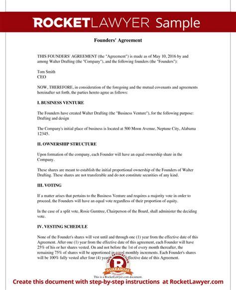 founders agreement template founders agreement