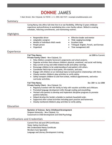 Create My Resume Free by Nanny Resume Sle Uxhandy