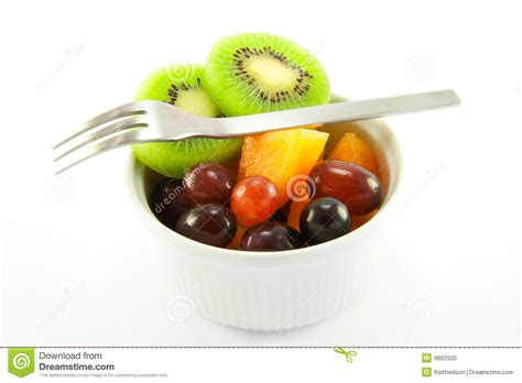 pot of fruit with fork stock photo image 9862500