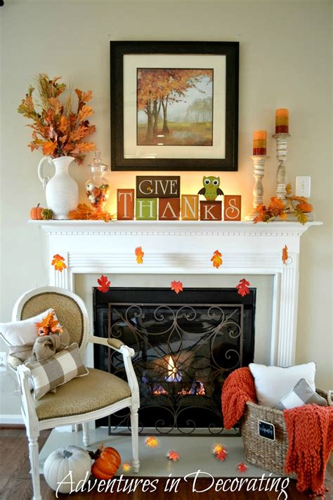 Fireplace Mantel Decor - adventures in decorating our simple fall mantel