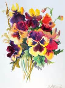 Abstract Painting Watercolor Flowers