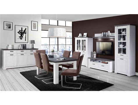 Wohnzimmer Gaston 52 Weiß Grau Beleuchtung 6teilig