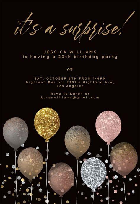 glitter balloon birthday invitation template