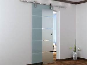 Porte coulissante en applique glassy h205cm verre trempe for Porte de garage enroulable et portes coulissantes en verre