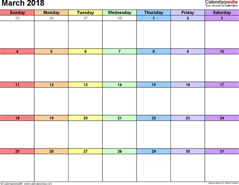 calendar template march 2018 march 2018 calendars for word excel pdf