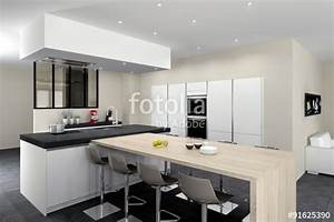 Quotcuisine 08 blanc mat ilot avec table bois mur d for Meuble pour salle a manger pour petite cuisine Équipée
