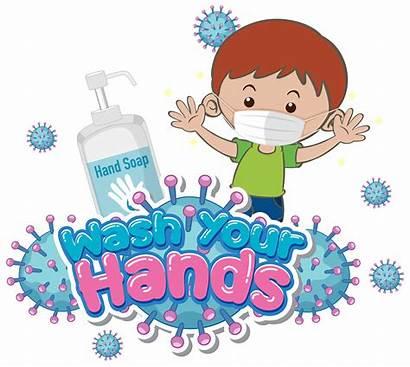 Wash Hands Mask Wearing Boy Poster Washing