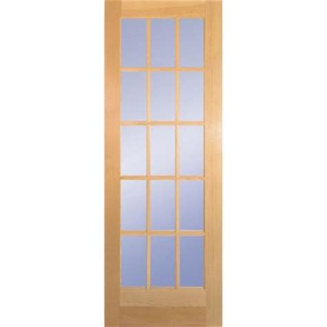 home depot interior doors wood builder s choice 30 in x 80 in 30 in clear pine wood 15 lite french interior door slab
