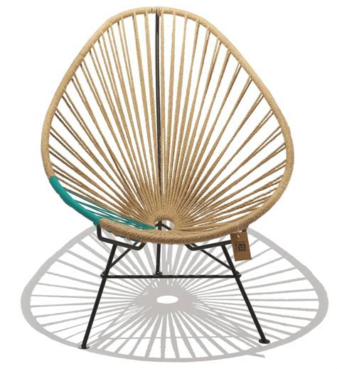 acapulco chaise chaise acapulco en chanvre avec des détails de turquoise