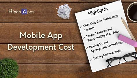 mobile app development costs factors determining the mobile app development cost