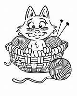 Coloring Yarn Knitting Needles Printable Clip Printables Huisdieren Kleurplaten Cartoon Sheknows Kitten Kittens Colouring Kitty Template Poes sketch template
