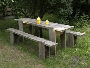 Gartentisch Selber Bauen Holz : der gartentisch und die gartenbank sind robust und billig ~ Watch28wear.com Haus und Dekorationen