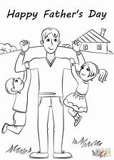 Coloring Fathers Happy Pages Printable Card Father Drawing Supercoloring Fathersday sketch template