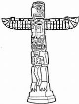 Totem Pole Coloring Pages Poles Clipart Drawing Beaver Simple Eagle Printable Native Faces Bear Sheet Easy Sheets History Symbols Template sketch template